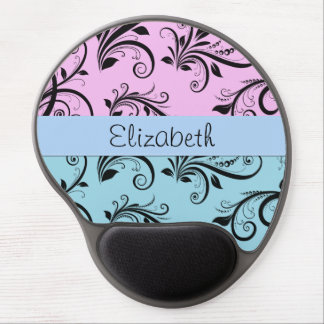 Your Name - Damask, Ornaments, Swirls - Blue Black Gel Mouse Pad