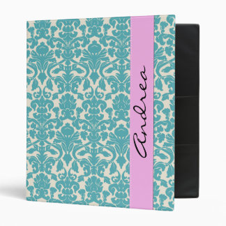 Your Name - Damask, Ornaments, Swirls - Blue White Binder