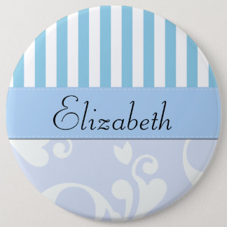 Your Name - Damask, Ornaments, Swirls - Blue White Button