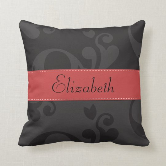 Your Name - Damask, Ornaments, Swirls - Gray Black Throw Pillow