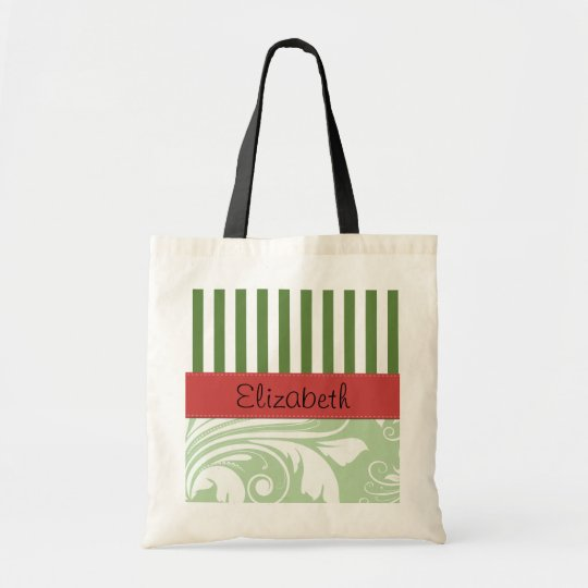 Your Name - Damask, Ornaments, Swirls - Green Tote Bag