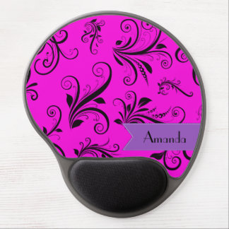 Your Name - Damask, Ornaments, Swirls - Pink Black Gel Mouse Pad
