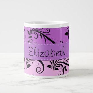 Your Name - Damask, Ornaments, Swirls - Pink Black Large Coffee Mug