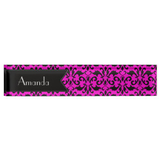 Your Name - Damask, Ornaments, Swirls - Pink Black Nameplate