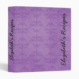 Your Name - Damask, Ornaments, Swirls - Purple 3 Ring Binder
