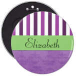 Your Name - Damask, Ornaments, Swirls - Purple Button