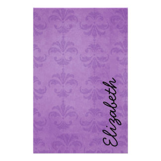 Your Name - Damask, Ornaments, Swirls - Purple Stationery