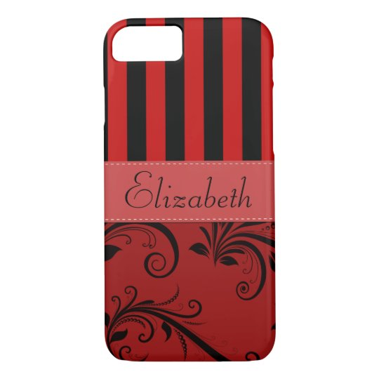 Your Name - Damask, Ornaments, Swirls - Red Black iPhone 7 Case
