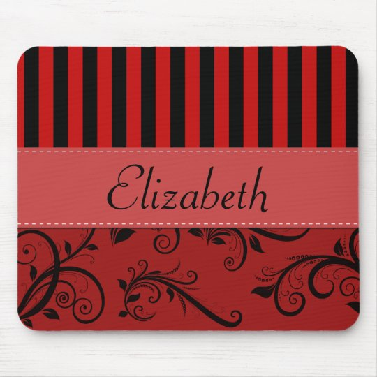 Your Name - Damask, Ornaments, Swirls - Red Black Mouse Pad