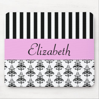 Your Name - Damask, Stripes - Black White Pink Mouse Pad