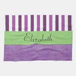 Your Name - Damask, Stripes - Purple White Green Kitchen Towel