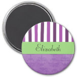 Your Name - Damask, Stripes - Purple White Green 3 Inch Round Magnet