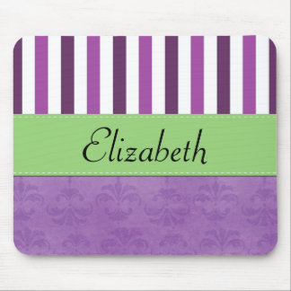 Your Name - Damask, Stripes - Purple White Green Mouse Pad