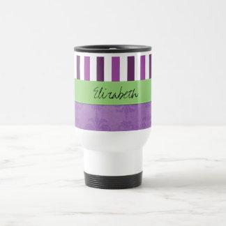 Your Name - Damask, Stripes - Purple White Green Mug