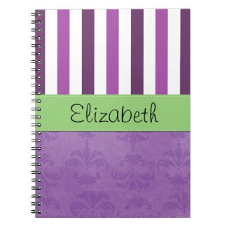 Your Name - Damask, Stripes - Purple White Green Spiral Notebook