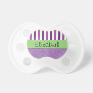 Your Name - Damask, Stripes - Purple White Green Pacifiers