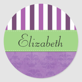 Your Name - Damask Stripes - Purple White Green Round Stickers