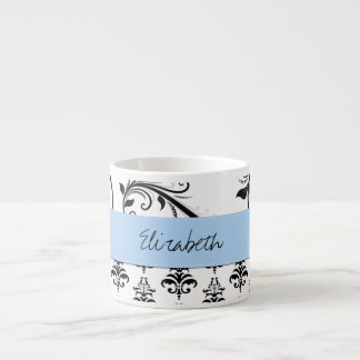 Your Name - Damask, Swirls - Black White Blue 6 Oz Ceramic Espresso Cup
