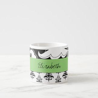 Your Name - Damask, Swirls - Black White Green 6 Oz Ceramic Espresso Cup