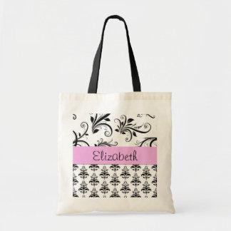 Your Name - Damask, Swirls - Black White Pink Canvas Bag