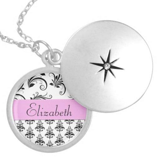 Your Name - Damask, Swirls - Black White Pink Round Locket Necklace