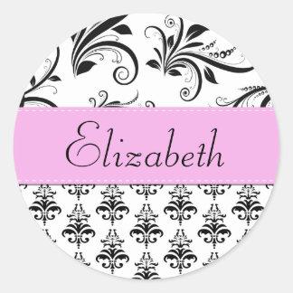Your Name - Damask, Swirls - Black White Pink Sticker