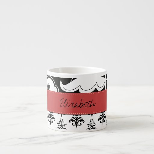 Your Name - Damask, Swirls - Black White Red Espresso Mugs