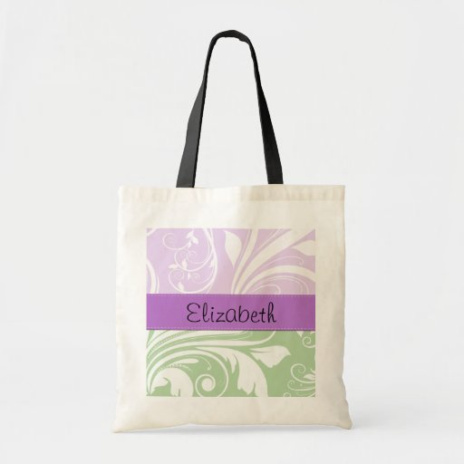 Your Name - Damask, Swirls - Green White Purple Tote Bags