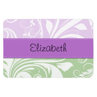 Your Name - Damask, Swirls - Green White Purple Rectangle Magnet