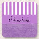 Your Name - Damask, Swirls, Stripes - Purple White Beverage Coasters