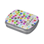 Your Name - Dog Paws, Paw-prints - Red Blue Green Candy Tins