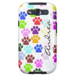 Your Name - Dog Paws, Paw-prints - Red Blue Green Samsung Galaxy SIII Covers