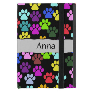Your Name - Dog Paws, Paw-prints - Red Blue Green Covers For iPad Mini