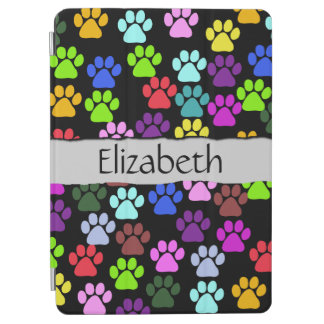 Your Name - Dog Paws, Paw-prints - Red Blue Green iPad Air Cover