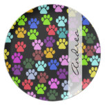 Your Name - Dog Paws, Paw-prints - Red Blue Green Party Plates
