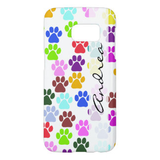 Your Name - Dog Paws, Paw-prints - Red Blue Green Samsung Galaxy S7 Case