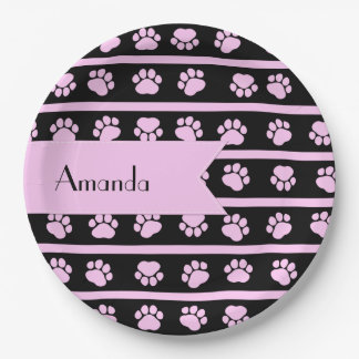 Your Name - Dog Paws, Paw-prints, Stripes - Pink Paper Plate