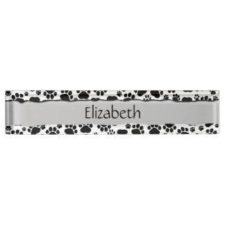 Your Name - Dog Paws, Paw-prints - White Black Desk Name Plate