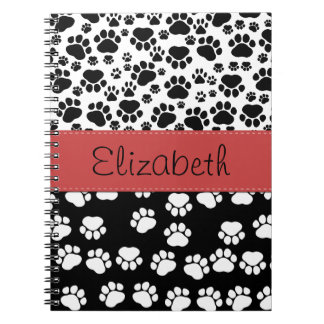Your Name - Dog Paws, Paw-prints - White Black Notebook