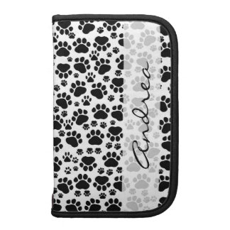Your Name - Dog Paws, Paw-prints - White Black Planner
