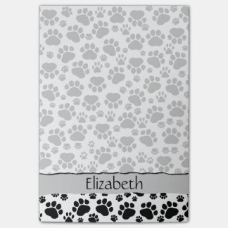 Your Name - Dog Paws, Paw-prints - White Black Post-it® Notes