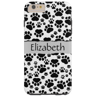 Your Name - Dog Paws, Paw-prints - White Black Tough iPhone 6 Plus Case