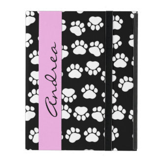 Your Name - Dog Paws, Traces, Paw-prints - Black iPad Folio Case