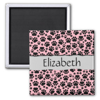 Your Name - Dog Paws, Traces, Paw-prints - Pink 2 Inch Square Magnet