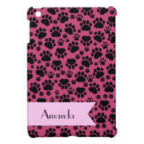 Your Name - Dog Paws, Traces, Paw-prints - Pink iPad Mini Case