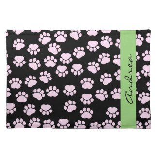 Your Name - Dog Paws, Traces, Paw-prints - Pink Placemat