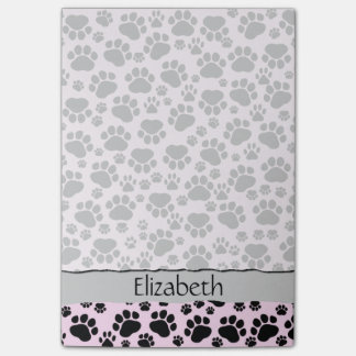 Your Name - Dog Paws, Traces, Paw-prints - Pink Post-it® Notes