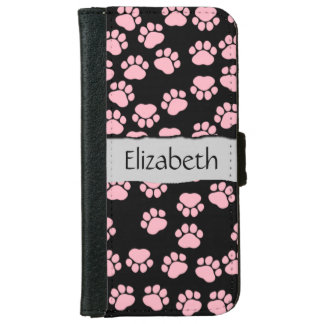 Your Name - Dog Paws, Traces - Pink Black iPhone 6 Wallet Case