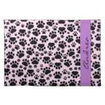 Your Name - Dog Paws, Traces - Pink Black Purple Cloth Place Mat