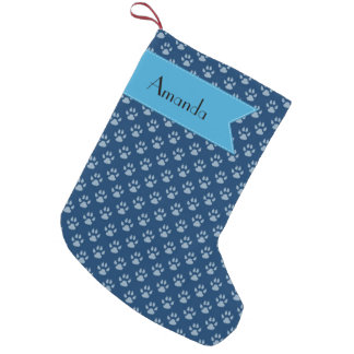 Your Name - Dog Paws, Traces, Trails - Blue Small Christmas Stocking